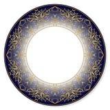 Modello circolare dell'oro su un fondo blu Immagine Stock Libera da Diritti