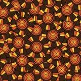 Modello circolare e tribale nei toni marroni con i motivi dell'tribù africane Surma e Mursi Fotografia Stock