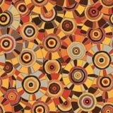 Modello circolare e tribale nei toni marroni con i motivi dell'tribù africane Surma e Mursi; struttura senza cuciture adatta a st Fotografia Stock Libera da Diritti
