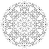 Modello circolare sotto forma di mandala Pagina di coloritura Vector la mandala con gli elementi astratti su fondo bianco Element illustrazione vettoriale