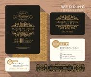 Modello classico d'annata di progettazione stabilita dell'invito di nozze Immagini Stock Libere da Diritti