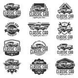 Modello classico di logo dell'automobile, logo d'annata dell'automobile, retro logo dell'automobile fotografia stock libera da diritti
