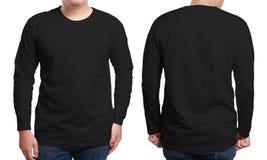 Modello collegato lungo nero di progettazione della camicia Fotografia Stock Libera da Diritti