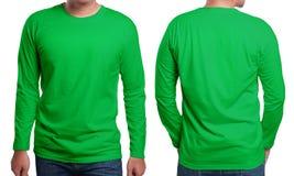 Modello collegato lungo verde di progettazione della camicia Fotografie Stock