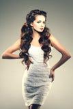 Modello con capelli lunghi Acconciatura dei riccioli delle onde Salone di capelli Updo f Immagine Stock