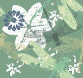 Modello con dragonfly& alla moda x27; s e fiori Immagini Stock Libere da Diritti