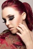 Modello con i cigli lunghi Fotografie Stock
