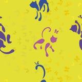 Modello con i gatti e la farfalla royalty illustrazione gratis