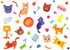 Modello con i gatti Illustrazione dell'acquerello Fotografia Stock Libera da Diritti