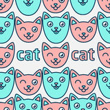 Modello con i gatti sorridenti Fronti rosa e blu dei gatti Immagini Stock Libere da Diritti