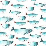 Modello con i pesci divertenti dell'acquerello Fotografia Stock