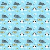 Modello con i pinguini, le guarnizioni, i pesci ed i fiocchi di neve Fotografia Stock