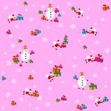 Modello con i pupazzi di neve e Santa Clauses Fotografie Stock