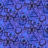 Modello con i simboli di alchemia Fotografie Stock