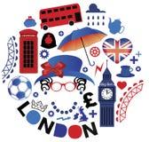 Modello con i simboli di Londra Fotografie Stock Libere da Diritti