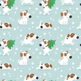 Modello con il cane e le luci di Natale bianchi divertenti Immagine Stock