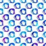 Modello con il cerchio della spazzola e rotondo senza cuciture Colore blu su fondo bianco Struttura dipinta a mano della fattoria Fotografie Stock Libere da Diritti