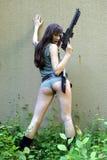 Modello con il fucile da caccia Fotografia Stock Libera da Diritti