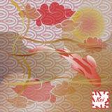 Modello con il pesce ed il tramonto, carpa a specchi su fondo giapponese tradizionale Marrone morbido pastello e rosa monocromati illustrazione di stock