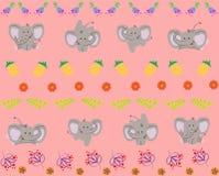 Modello con il piccolo elefante sveglio Illustrazione di vettore illustrazione di stock
