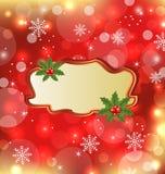 Modello con il vischio per la cartolina di Natale di disegno Fotografia Stock