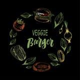 Modello con l'hamburger e le verdure della verdura su fondo nero illustrazione vettoriale