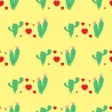 Modello con l'immagine di due cactus e di cuori rossi su un fondo giallo Fotografia Stock Libera da Diritti