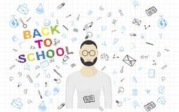 Modello con l'insegnante ed insieme degli elementi del disegno per istruzione con gli accessori endolar Illustrazione ENV 10 di v Immagini Stock Libere da Diritti