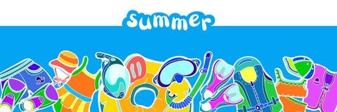 Modello con l'insieme delle merci di nuoto per i bambini su fondo blu Illustrazione di colore di vettore Immagine Stock