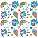 Modello con l'unicorno felice Fotografia Stock