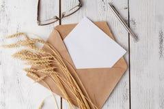 Modello con la cartolina e gli anelli dorati su fondo bianco fotografie stock