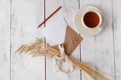 Modello con la cartolina e gli anelli dorati su fondo bianco fotografia stock libera da diritti