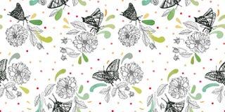 Modello con la farfalla e floreale bianchi illustrazione vettoriale