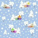 Modello con le case e gli alberi di inverno royalty illustrazione gratis