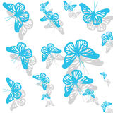 Modello con le farfalle blu della molla Immagini Stock