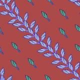 Modello con le foglie blu su fondo rosso nello stile africano illustrazione di stock
