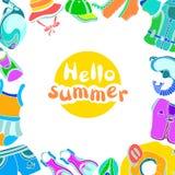 Modello con le merci di nuoto per i bambini e l'estate di frase ciao Fotografie Stock