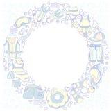 Modello con le merci di nuoto per i bambini nel cerchio Illustrazione di colore di vettore Immagine Stock Libera da Diritti