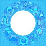 Modello con le merci di nuoto per i bambini nel cerchio Insieme di vettore Fotografia Stock Libera da Diritti