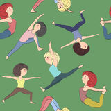 Modello con le ragazze che fanno yoga royalty illustrazione gratis
