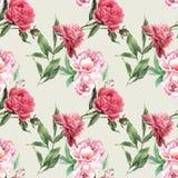 Modello con le rose e la peonia Immagine Stock Libera da Diritti