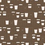 Modello con le tazze di caffè di carta asportabili Immagine Stock