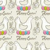 Modello con le uova di Pasqua, il fiore e le galline Fotografie Stock Libere da Diritti