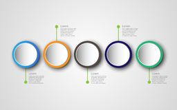 Modello con 5 opzioni, Di trattato di progettazione di infographics di cronologia royalty illustrazione gratis