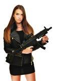 Modello con una pistola Fotografia Stock Libera da Diritti