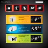 Modello contrassegnato e fissato il prezzo di di Web site Immagine Stock