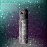Modello cosmetico degli annunci, bottiglia cosmetica realistica illustrazione 3D Immagine Stock