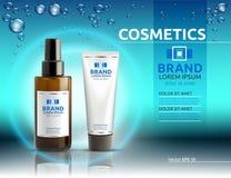 Modello cosmetico degli annunci del siero e della crema del corpo Lozioni d'idratazione del corpo o del facial Illustrazione real Fotografia Stock