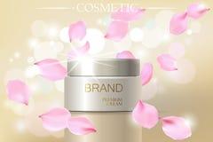 Modello cosmetico degli annunci dell'estratto del fiore del petalo di Rosa, incandescenza elegante d'idratazione del modello dell illustrazione di stock