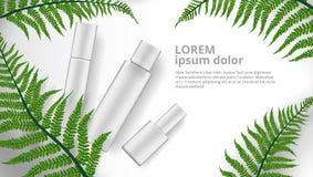 Modello cosmetico di erbe dell'annuncio dei tubi e delle bottiglie immagini stock libere da diritti